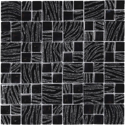MOSAICO DREAM BLACK 30X30 VETRO 0616/DM04    NERO CON VENATURE ARGENTO BRILLANTINI
